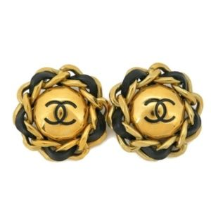 AUTH CHANEL CC CHAIN ROUND EARRINGS EY205